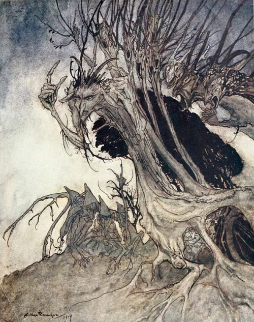 "From The Haunted Garden's Facebook Page: ""Calling shapes, and beckoning shadows dire.""  Illustration by the great Arthur Rackham in the 1921 Doubleday, Page edition of John Milton's ""Comus."" See the entire book online at https://openlibrary.org/books/OL14001590M/Comus."