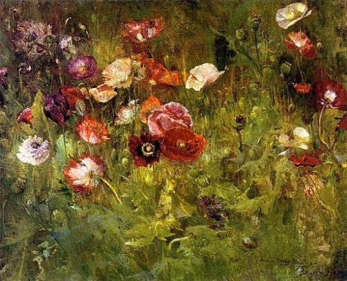 A Bed of Poppies, Maria Oakey Dewing, 1909. Via Wikimedia Commons (public domain).