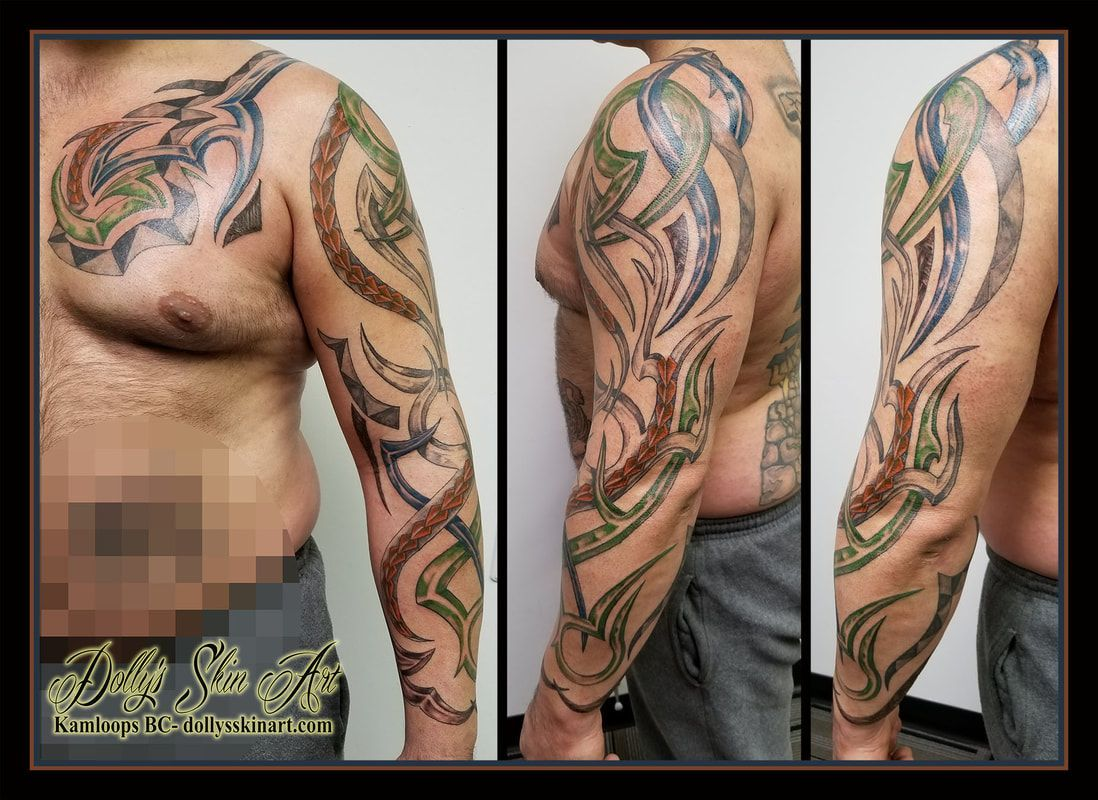 tribal tattoos green and brown